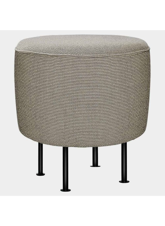 Modern Line Pouffe - Fully Upholstered, Ø38, Black Semi Matt Base