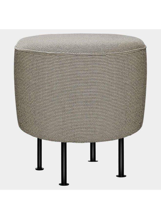 Modern Line Pouffe - Fully Upholstered, Ø38, Black Semi Matt Base
