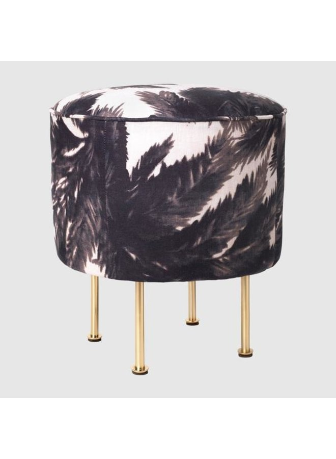 Modern Line Pouffe - Fully Upholstered, Ø38, Brass Shiny