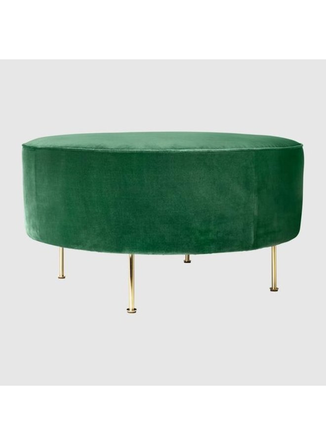 Modern Line Pouffe - Fully Upholstered, Ø80, Brass Shiny