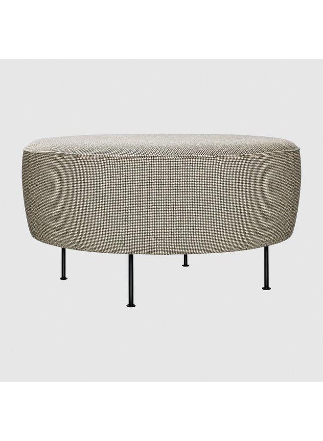 Modern Line Pouffe - Fully Upholstered, Ø80, Black Semi Matt Base