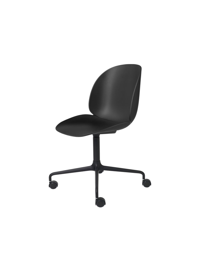 Beetle Meeting Chair - Un-Upholstered, 4-star w. castors, Black Matt Base