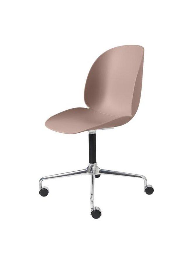 Beetle Meeting Chair - Un-Upholstered, 4-star w. castors, Polished Aluminium/Black Matt Base