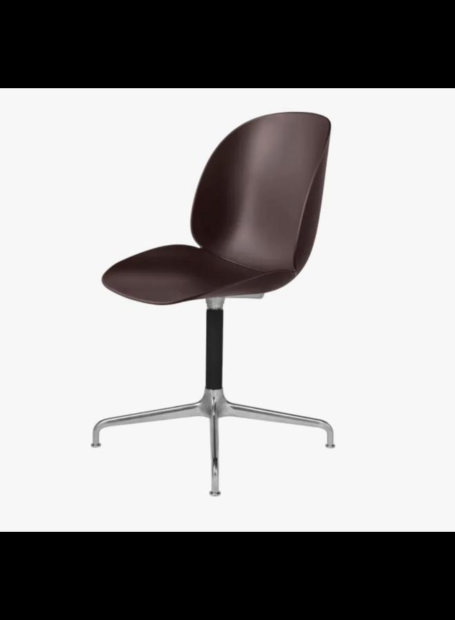 Beetle Meeting Chair - Un-Upholstered, 4-star base, Polished Aluminium/Black Matt Base