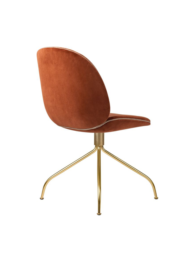 Beetle Meeting Chair - Fully Upholstered, Swivel base, Brass Semi Matt Base