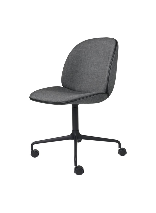 Beetle Meeting Chair - Fully Upholstered, 4-star w. castors, Black Matt Base