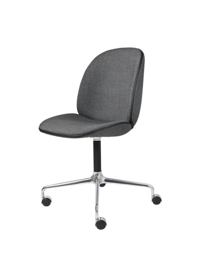 Beetle Meeting Chair - Fully Upholstered, 4-star w. castors, Polished Aluminium/Black Matt Base