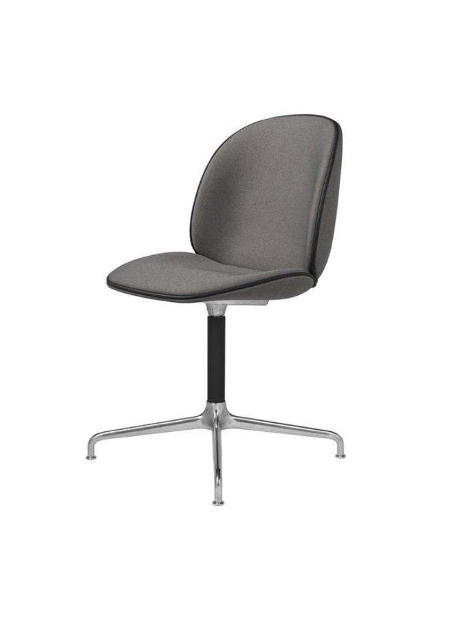 Beetle Meeting Chair - Fully Upholstered, 4-star base, Polished Aluminium/Black Matt Base