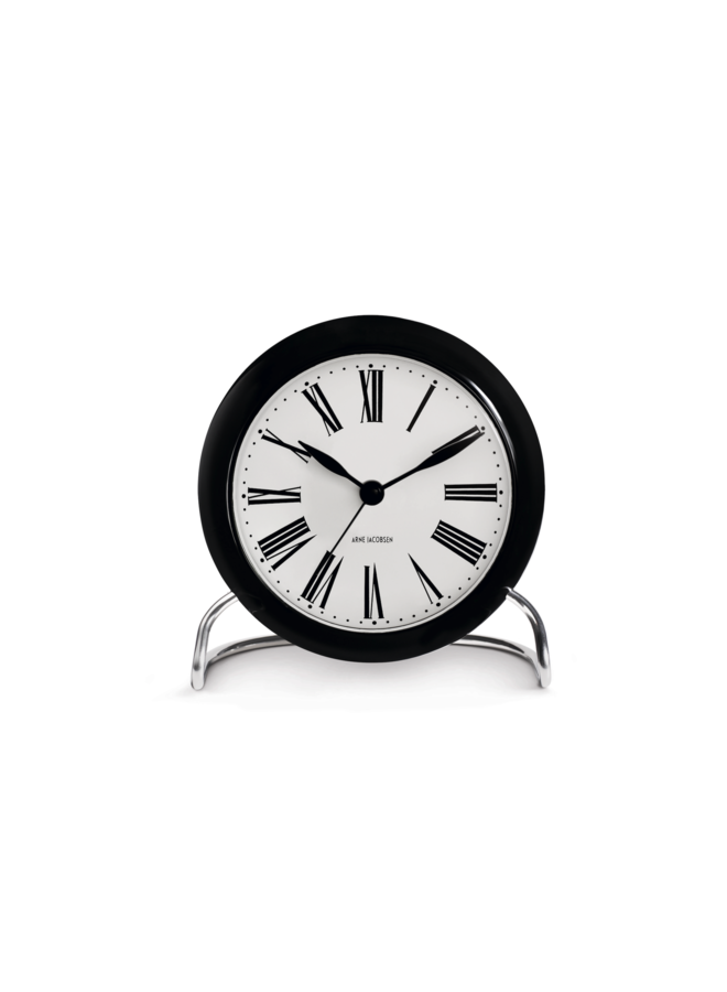 Roman Table Clock 11 cm Black/White