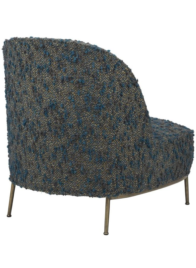 Sejour Lounge Chair - Fully Upholstered, Antique Brass Base