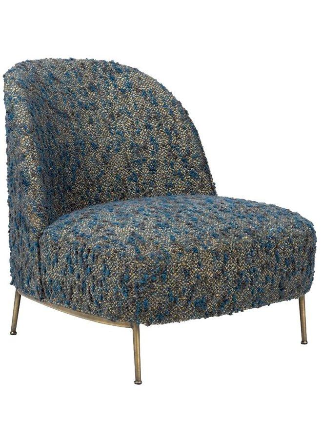 Sejour Lounge Chair - Fully Upholstered, Brass Semi Matt Base