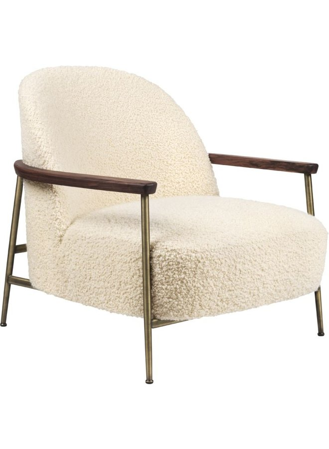 Sejour Lounge Chair - Fully Upholstered, With armrests, Antique Brass Base