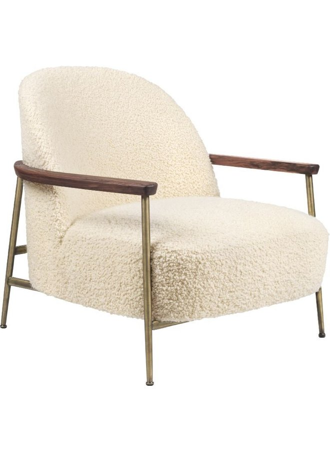 Sejour Lounge Chair - Fully Upholstered, With armrests, Brass Semi Matt Base