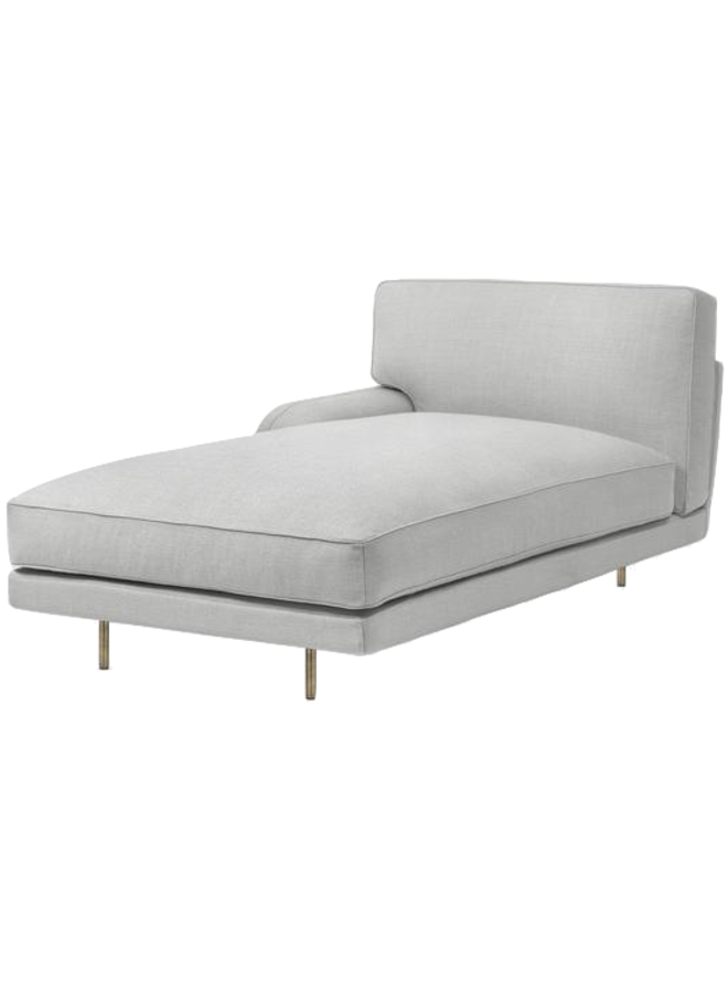 Flaneur Module - Fully Upholstered, Chaise Longue with right armrest, Antique Brass Base