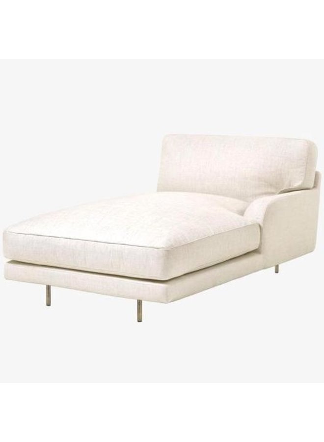 Flaneur Module - Fully Upholstered, Chaise Longue with left armrest, Antique Brass Base