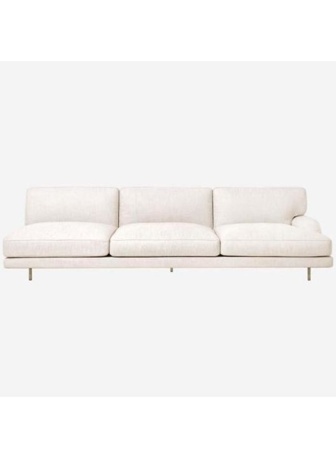 Flaneur Module - Fully Upholstered, 3-seater with right armrest, Antique Brass Base