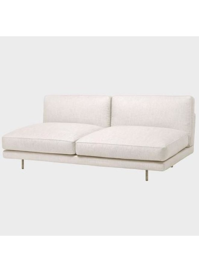 Flaneur Module - Fully Upholstered, 2-seater without armrests, Antique Brass Base