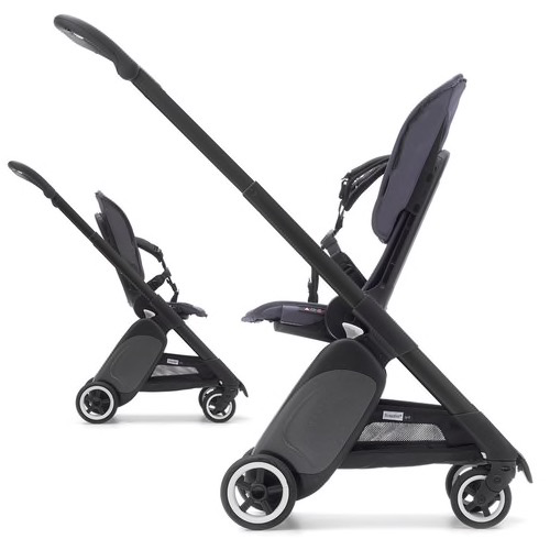 Bugaboo Bugaboo Ant w/ Black Chassis, Grey Melange Seat Fabric/Canopy, Black Wheel Caps and Metallic Silver Grey Side Panel