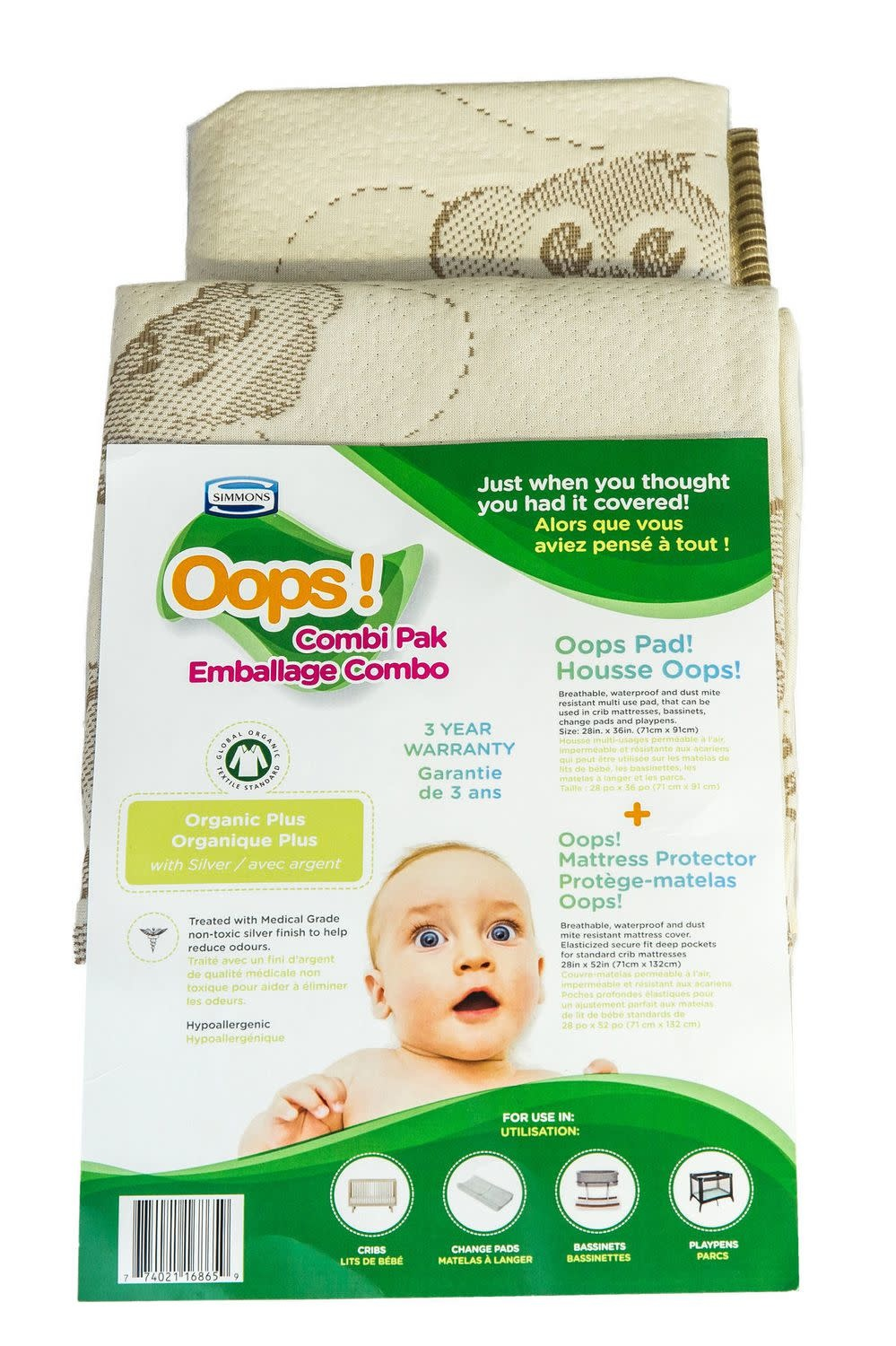 Simmons Simmons Oops Combi Pak - Organic Cover and Multi Use Pad