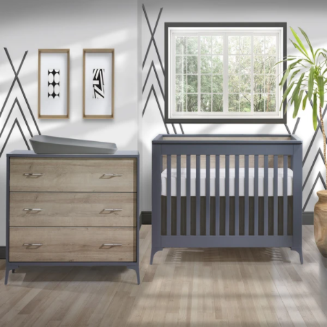 Tulip Metro Convertible Crib/3 Drawer Dresser Charcoal/Natural