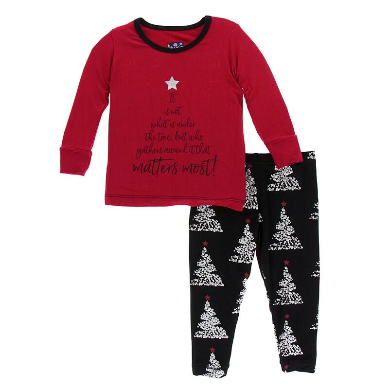 Kickee Pants Holiday LS Pajama Set It Is Not What Is Under The Tree 2T