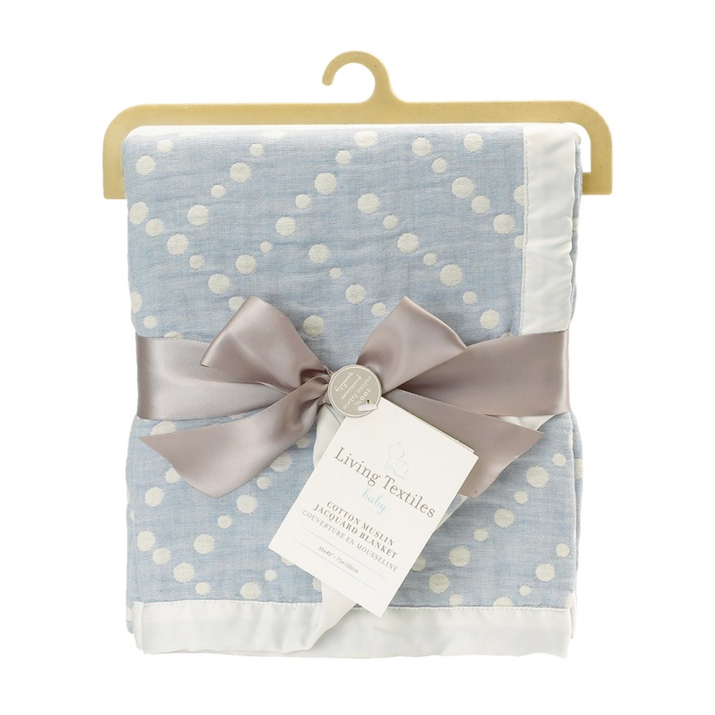 Living Textiles Muslin Jacquard Blanket Blue Dotted