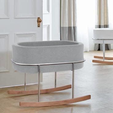 Monte Design Rockwell Bassinet - Chrome w/ Walnut Feet