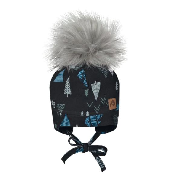 Perlimpinpin Black Trees Hat w/ Pompom