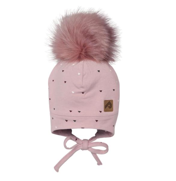 Perlimpinpin Pink Triangles Hat w/ Pompom