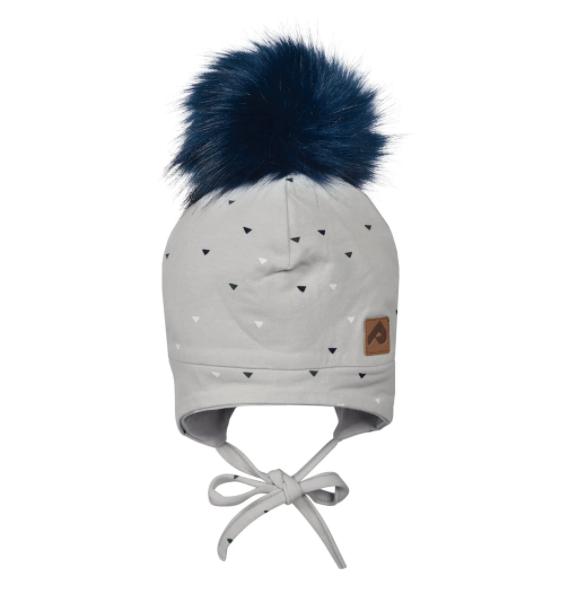 Perlimpinpin Grey Triangles Hat w/ Pompom