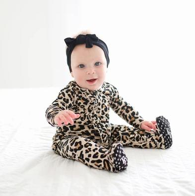 Posh Peanut Lana Leopard Ruffle Footie w/ Zipper