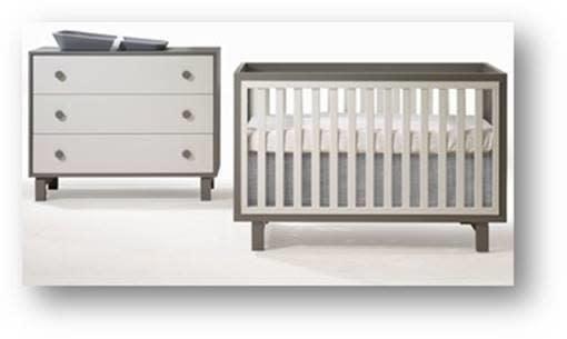 Tulip Bjorn Convertible Crib/3 Drawer Dresser Taupe/Latte