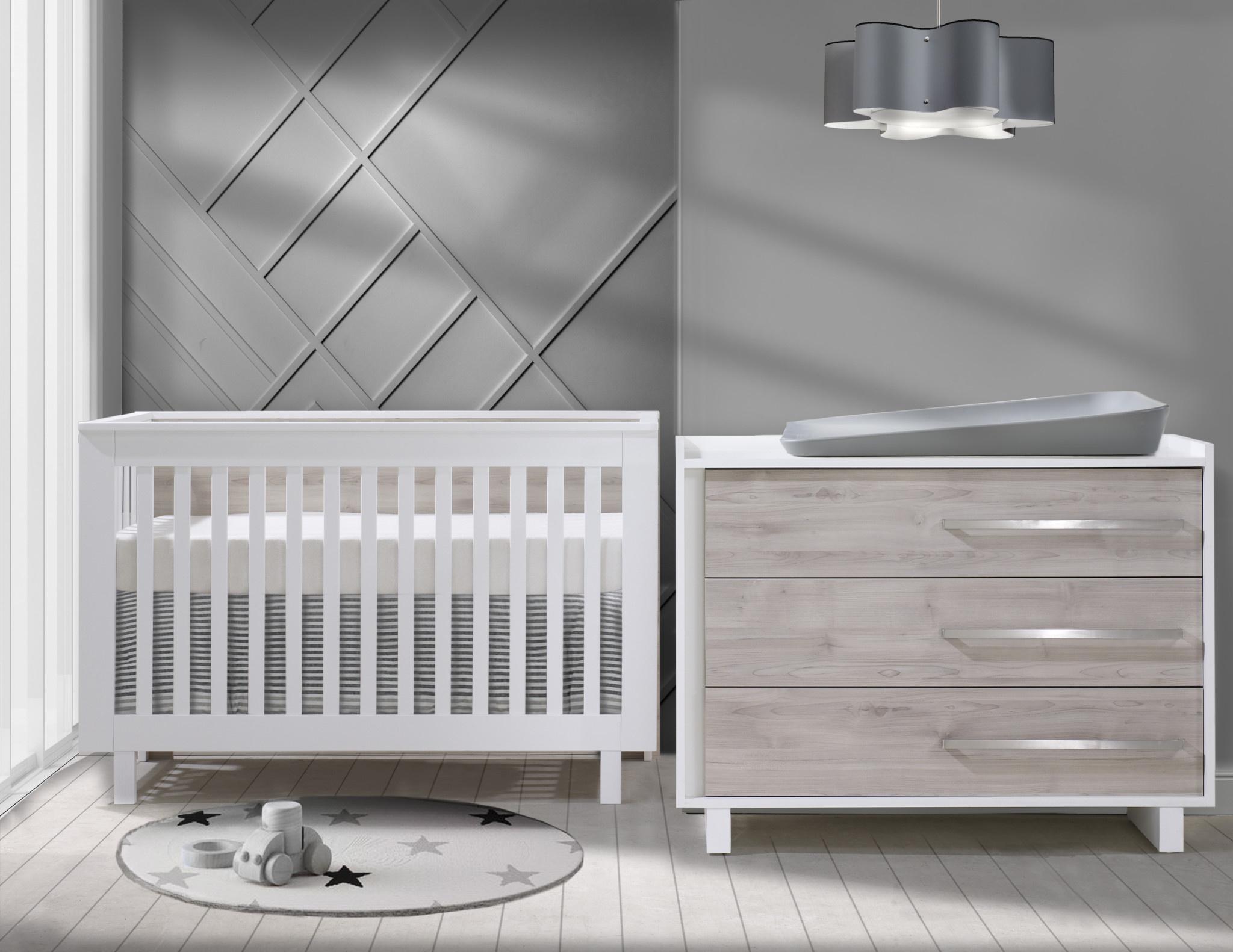Tulip Urban Convertible Crib/3 Drawer Dresser White/Sand