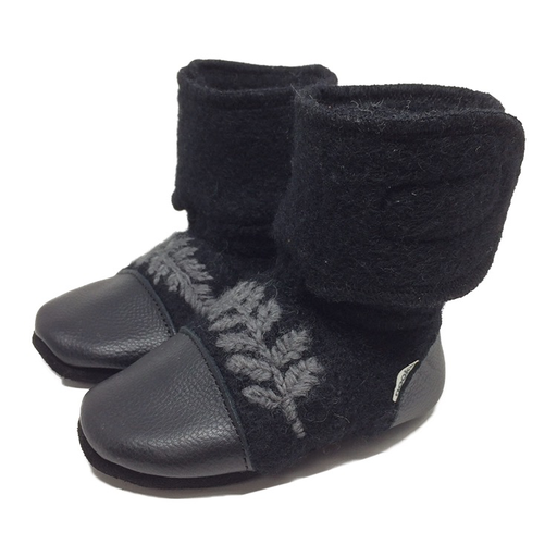 Nooks Embroidered Leaf Wool Booties - Starling