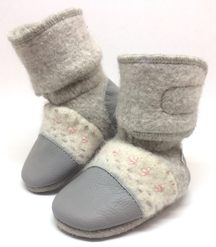 Nooks Embroidered Wool Booties Narwhal 2-3 yrs.