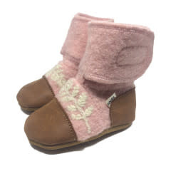 Nooks Embroidered Leaf Wool Booties - Finch