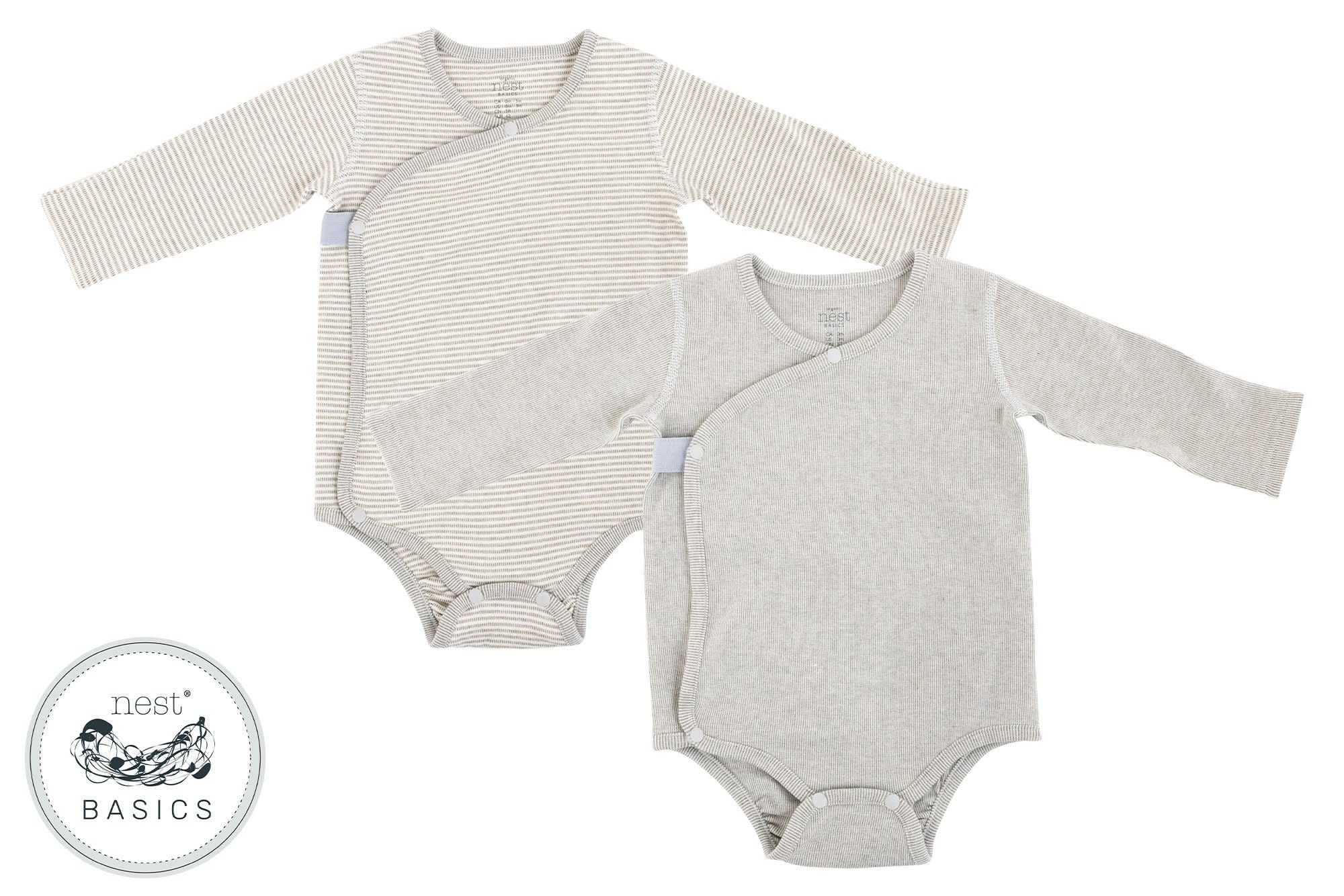 Nest Designs Basics Ribbed Long Sleeve Onesie - Dark Grey