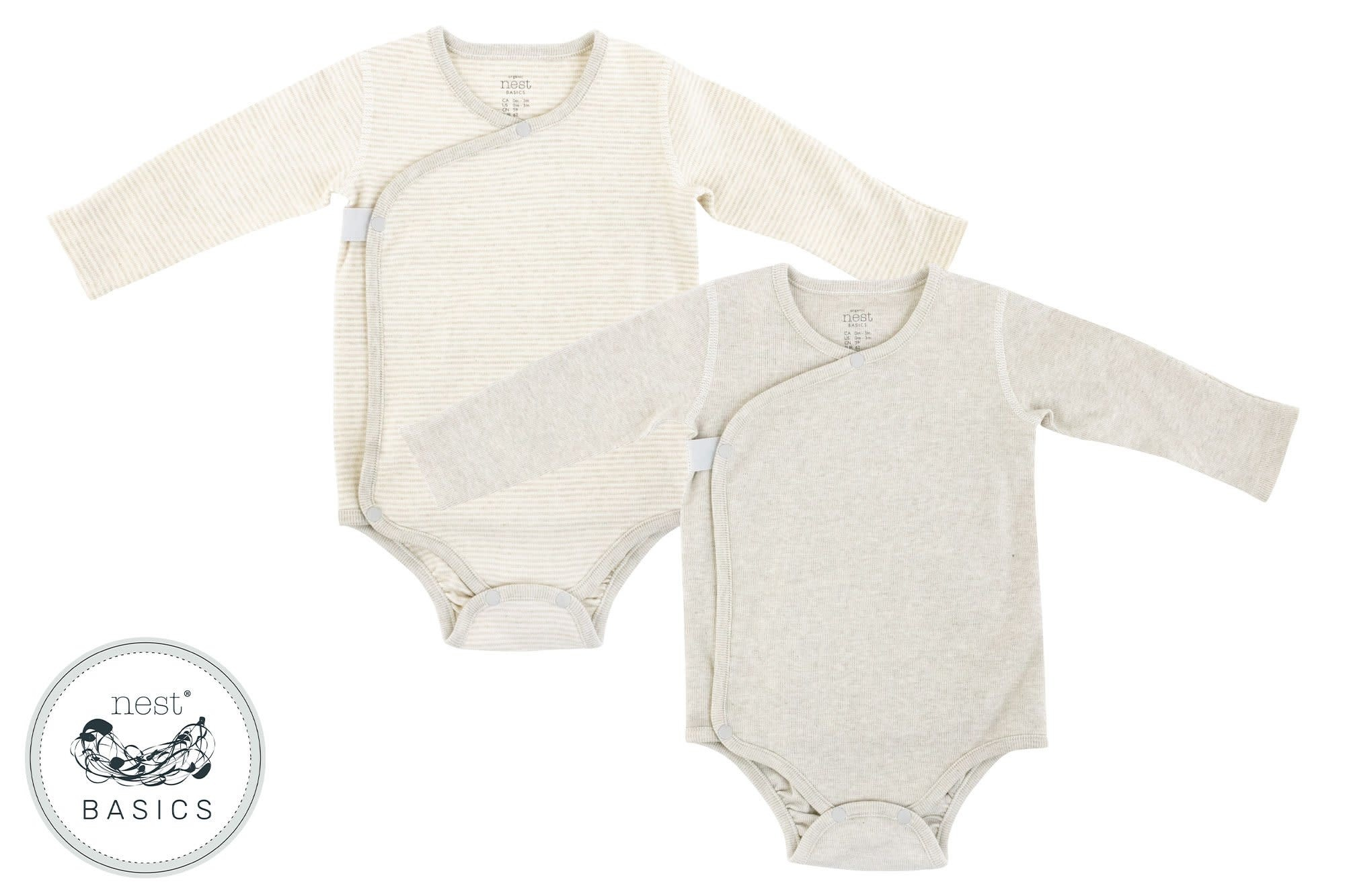 Nest Designs Basics Ribbed Long Sleeve Onesie - Light Grey
