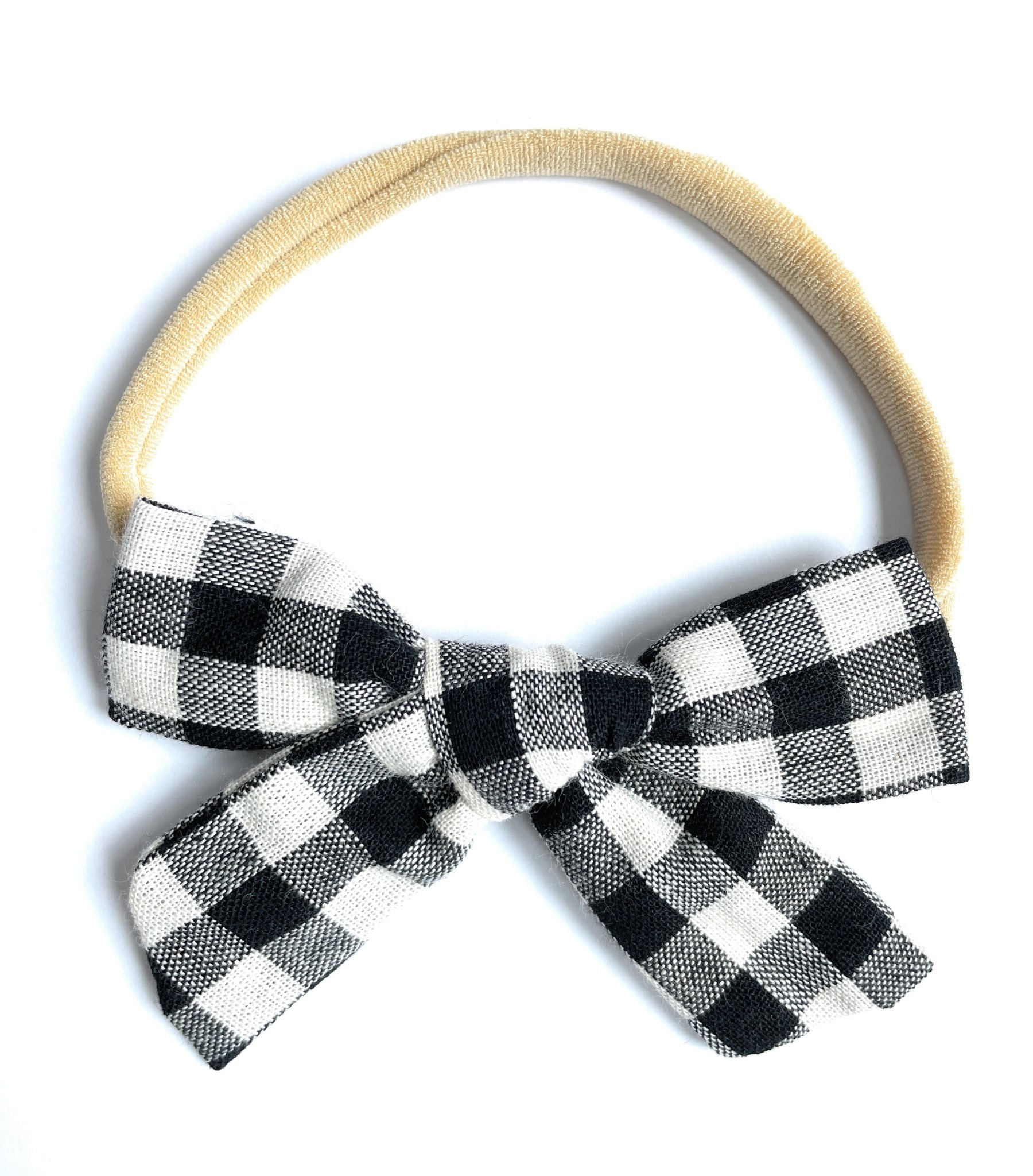 Baby Wisp - Handtied Bow - White Buffalo Plaid