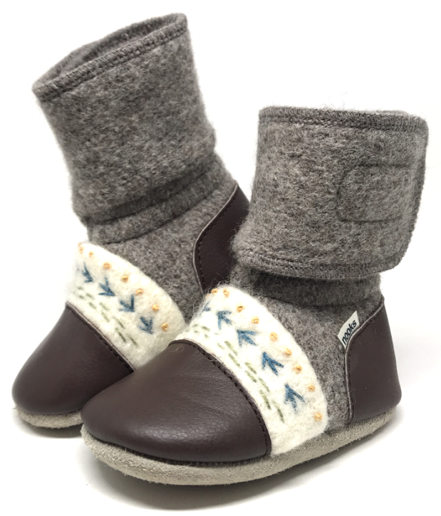 Nooks Felted Wool Booties - Caribou