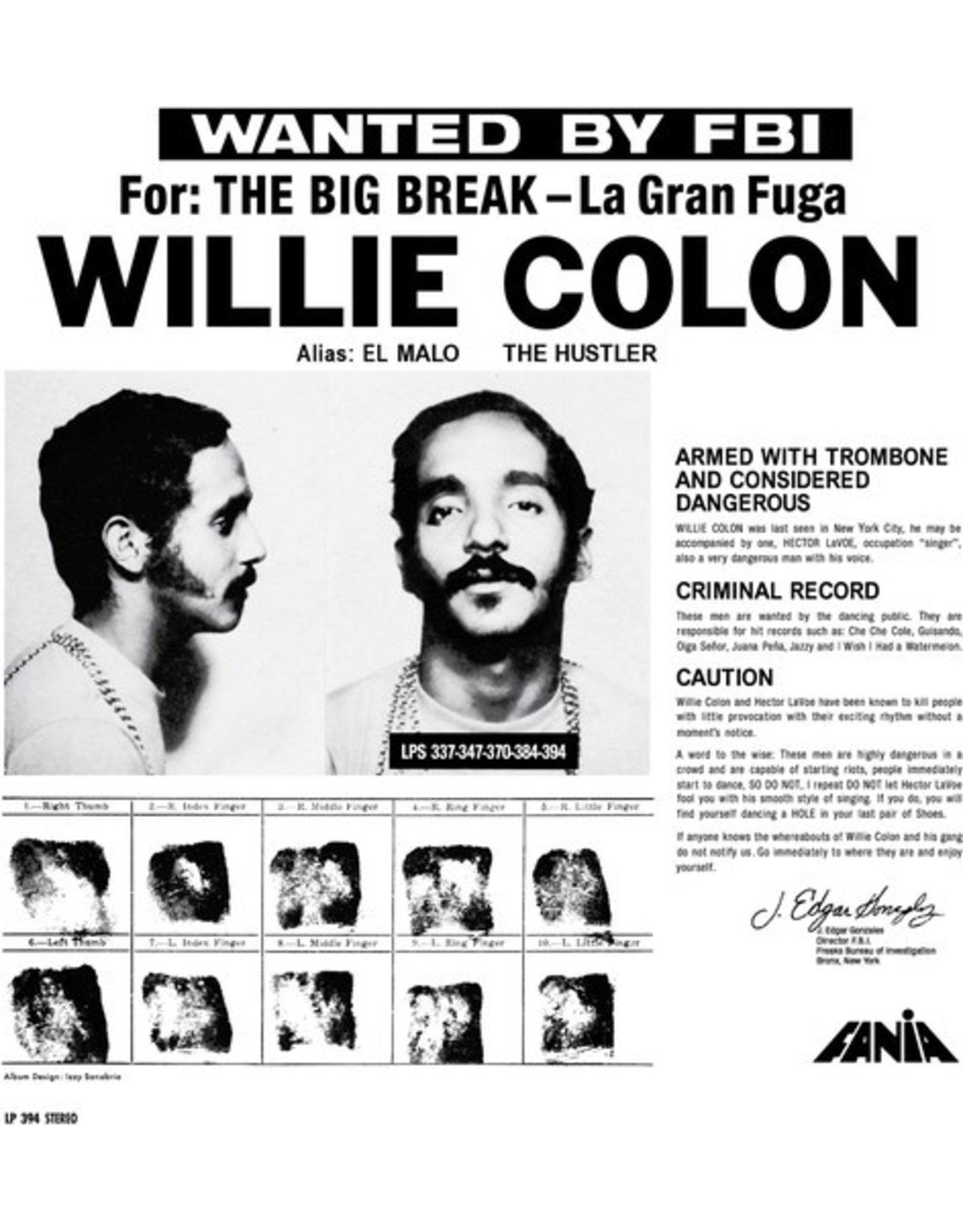 New Vinyl Willie Colon - The Big Break LP