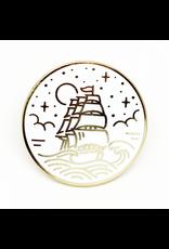 Enamel Pin Ship White Gold Enamel Pin