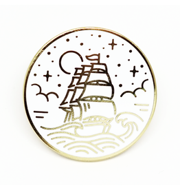 Enamel Pin Ship White Gold Enamel Pin