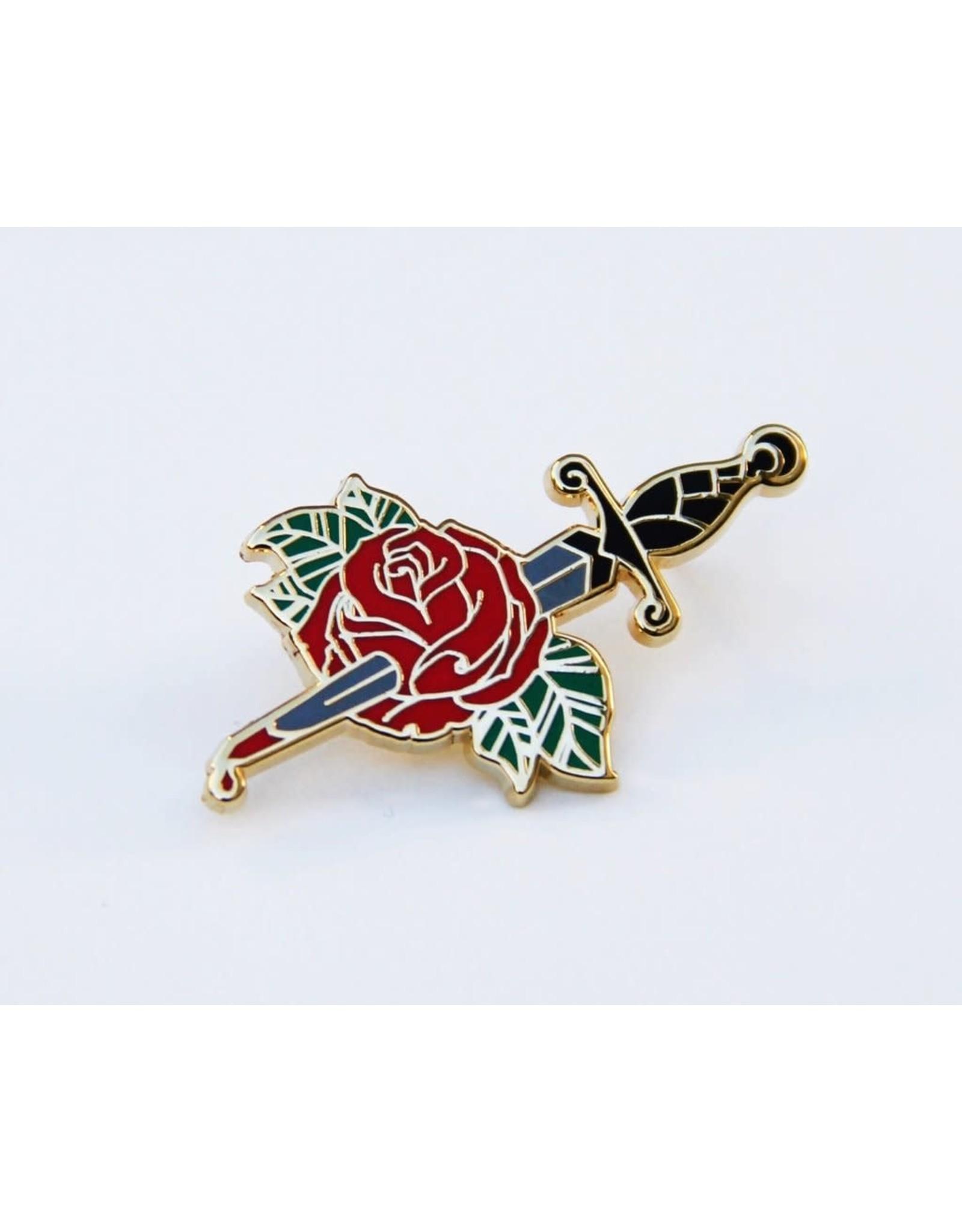 Enamel Pin Rose Bleeding Dagger Enamel Pin