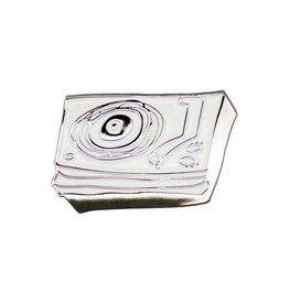 Enamel Pin Rebel Girl Silver / White Turntable Line Drawing Enamel Pin