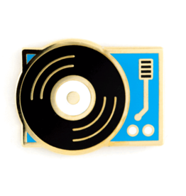 Enamel Pin Blue Platform Turntable Enamel Pin