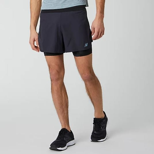 "New Balance Men's Q Speed 5"" 2-In-1 Shorts"