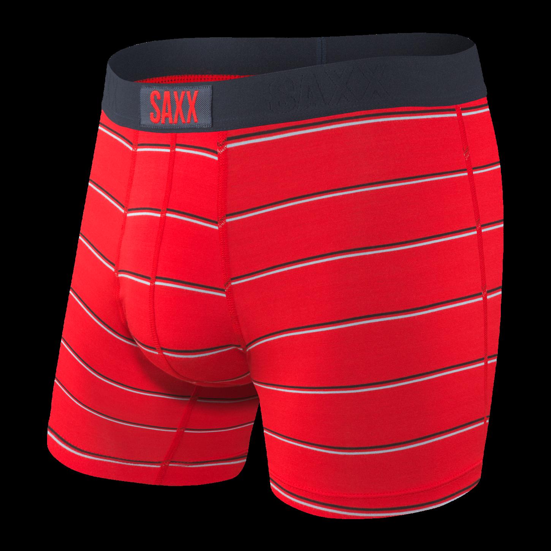 Saxx Vibe Boxer Brief - Red Shallow Stripe