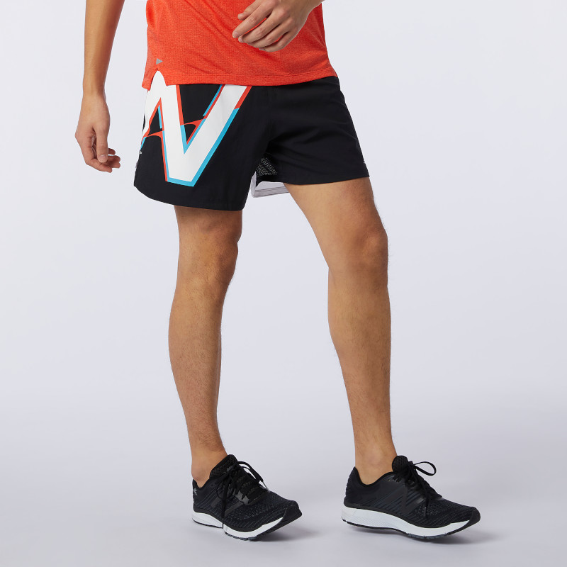 "New Balance Men's Printed Impact Run 5"" Short"