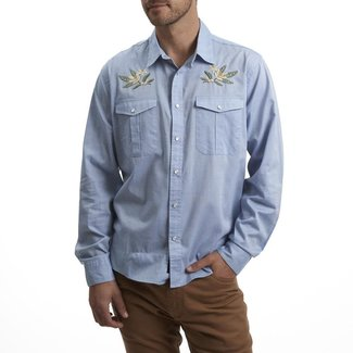 Howler Brothers Gaucho Snapshirt Pale Blue Oxford Orange Blossom